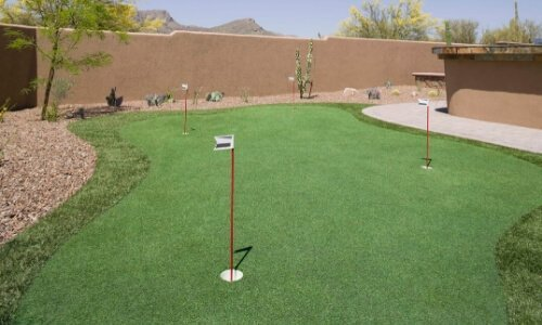 Backyard Putting Green Installed by Ideal Turf in Houston, TX Backyard