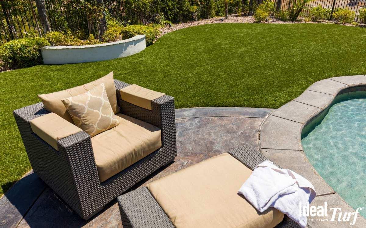 Artificial Grass Around Pool in Texas Backyard