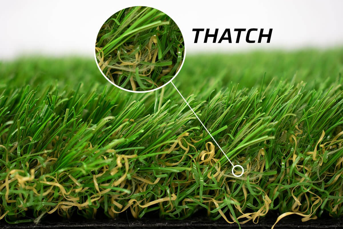 Artificial Grass thatch fibers highlighted with closeup overlay