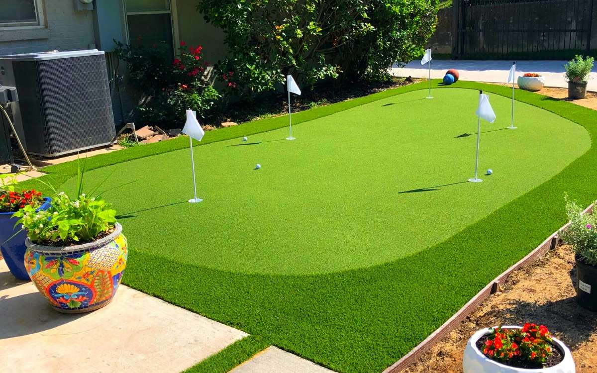 Backyard Putting Green Installed by Ideal Turf in Fort Worth Texas Backyard