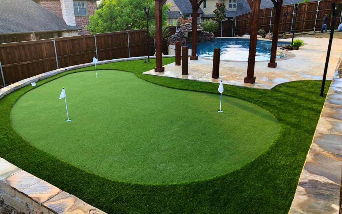 Backyard Putting Green by Pool Fort Worth Texas