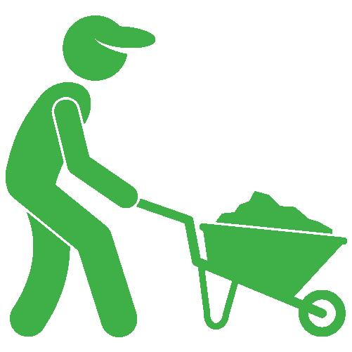 Moving wheelbarrow full of natural grass