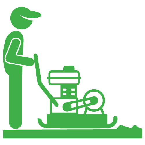 """Using """"Plate Compactor"""" to flatten artificial turf base material"""