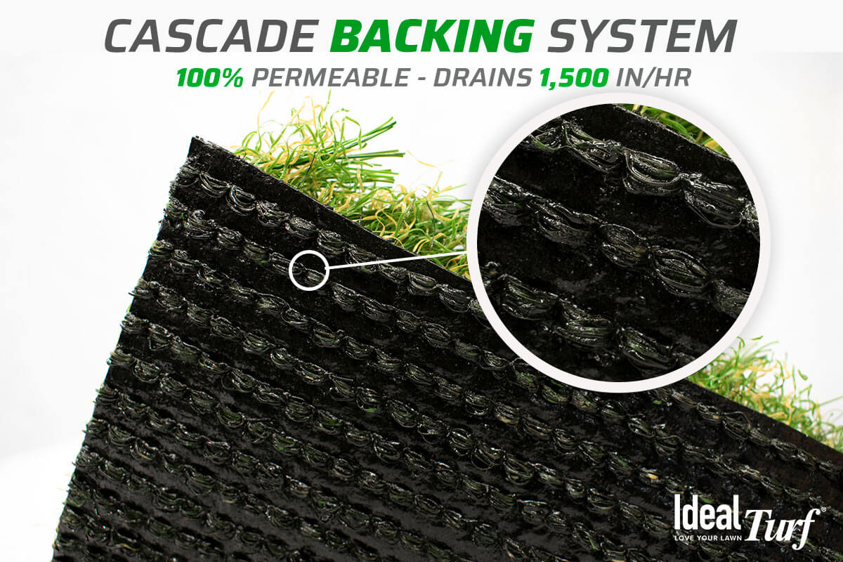 """Ideal Turf's """"Cascade Backing System"""" closeup"""