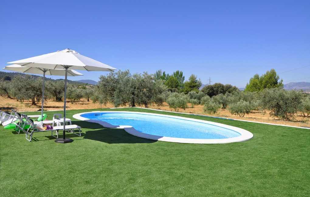Artificial turf around swimming pool in Texas backyard