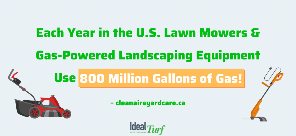 Each year in the U.S. lawn mowers & gas-powered landscaping equipment use 800 million gallons of gas!