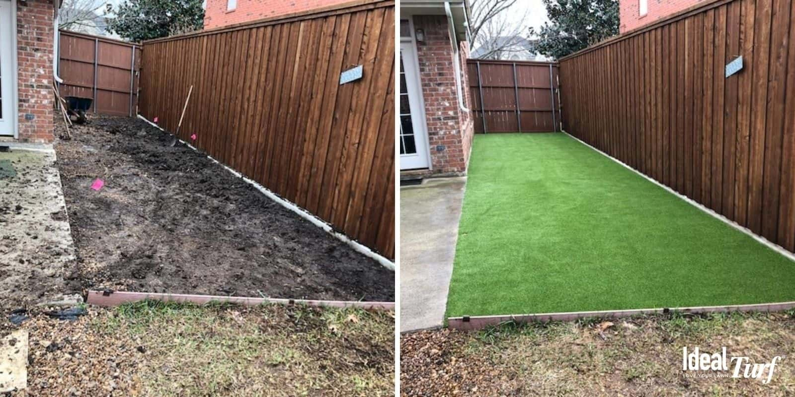Simple Artificial Grass Dog Run Before & After