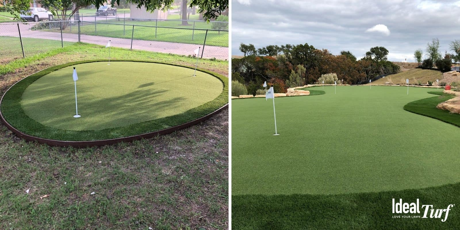 Large & Small Putting Greens Side-By-Side