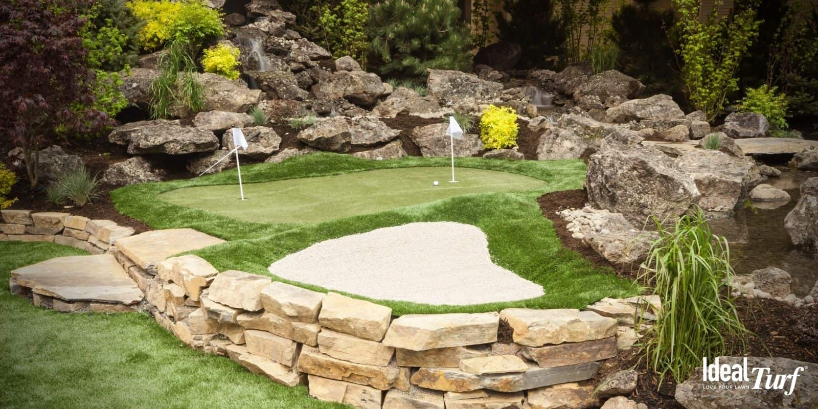 Backyard Putting Green Design with Sand Trap