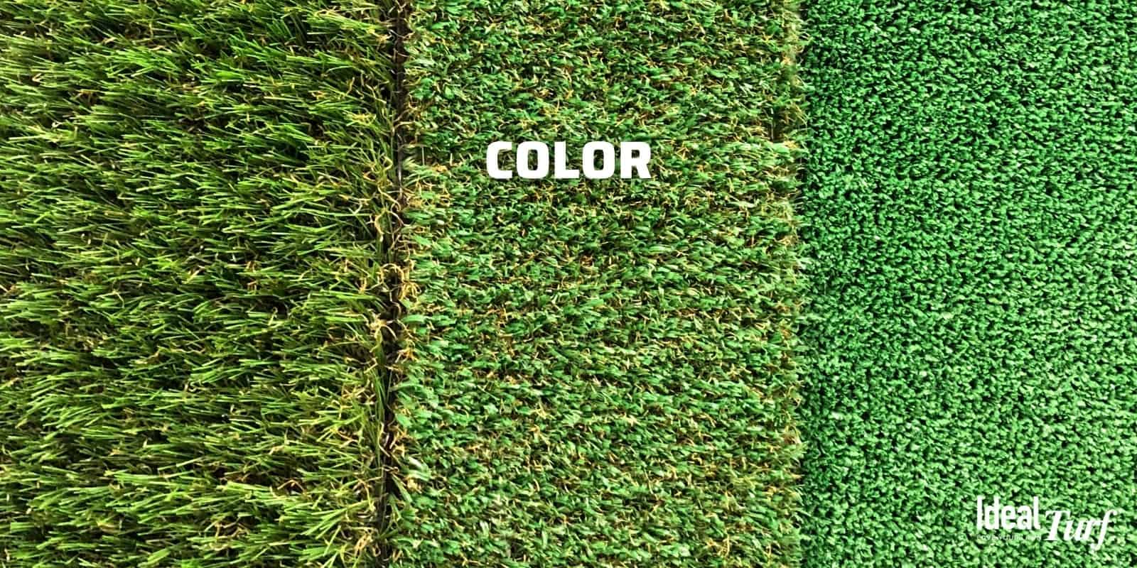Three turf samples with different colors