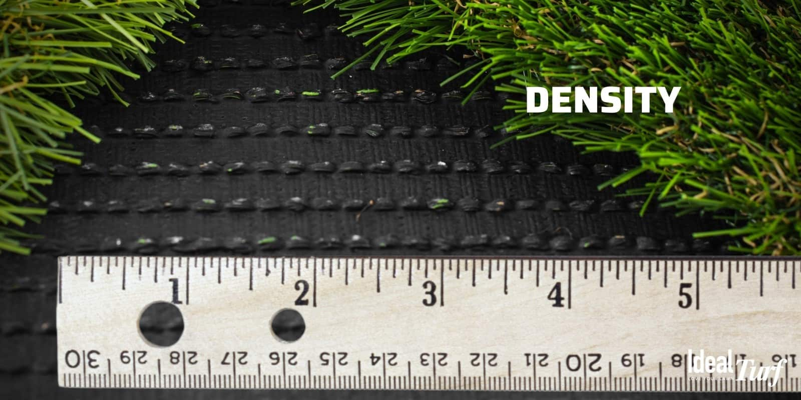 Turf backing with ruler to measure stitch rate and density of turf fibers