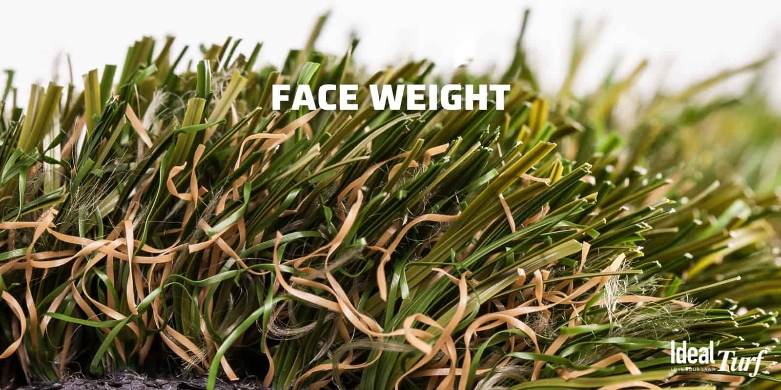Closeup of turf product to show the face weight