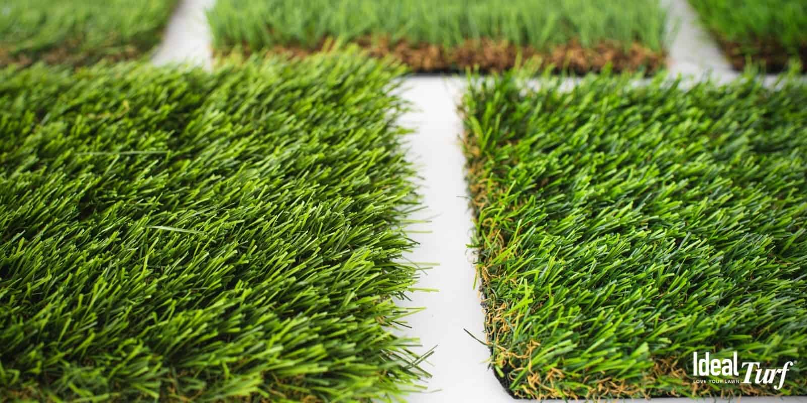 Samples of turf products that appear lush and full on white background