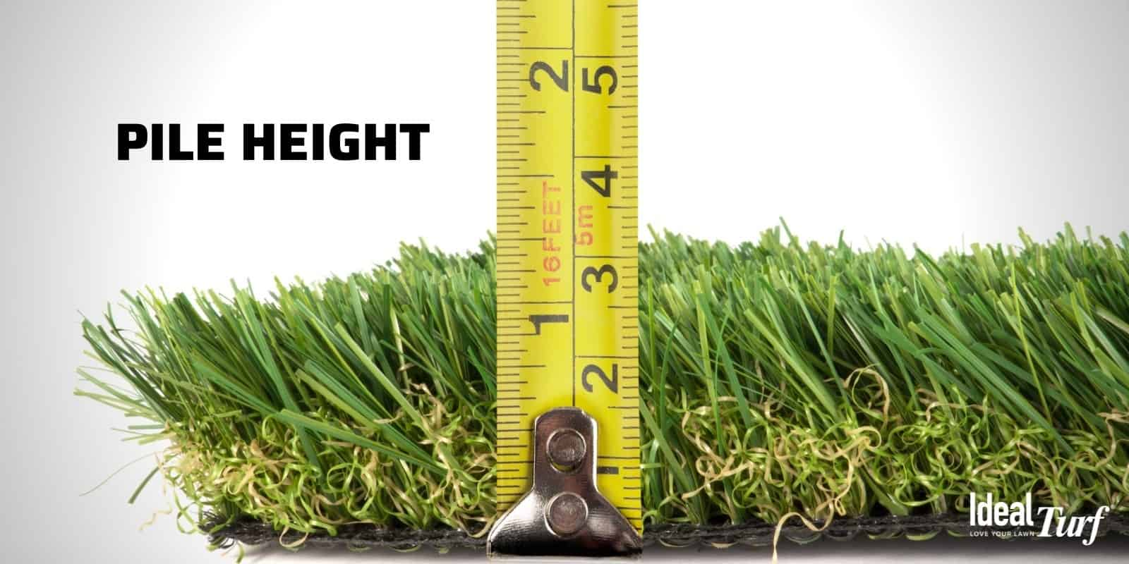 Turf product sample with tape measure showing the pile height