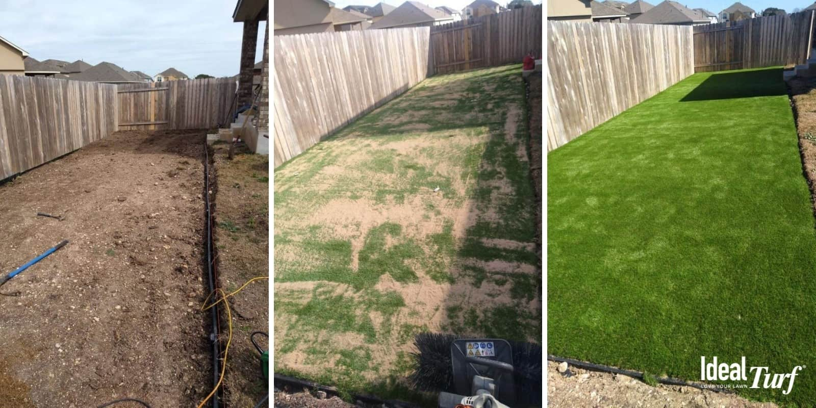 Before-During-After photos of artificial grass in backyard installed by Ideal Turf