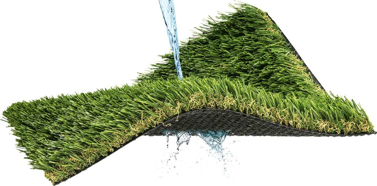Water being poured onto turf product sample with water beginning to drain through the backing