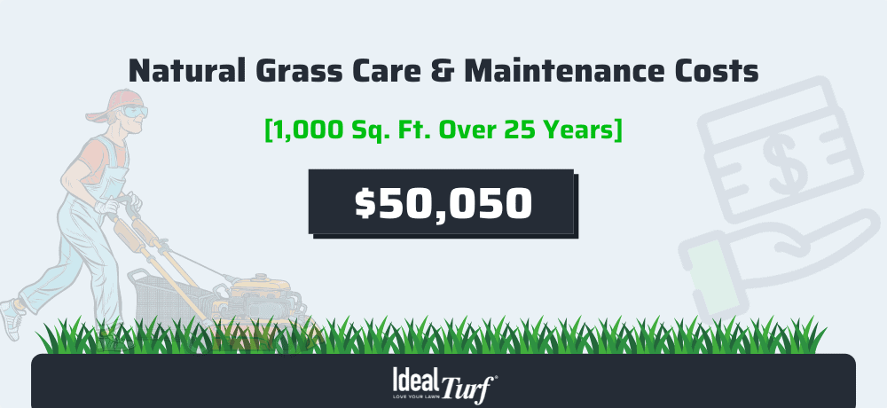 Natural Grass Care & Maintenance Costs for a 1,000 sq. ft. lawn over 25 years