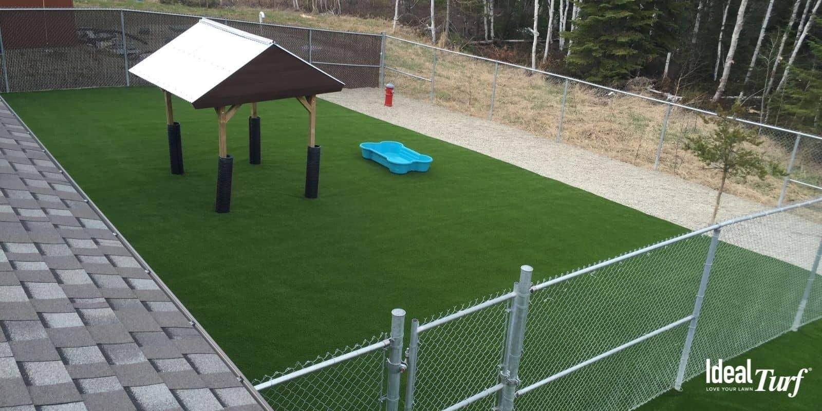 Artificial Turf Backyard Dog Run with chain-link fence