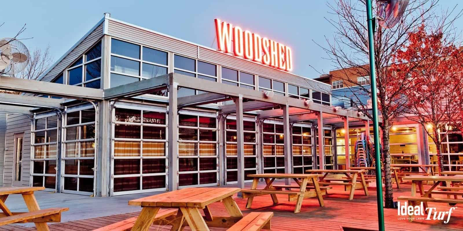Outdoor patio area of The Woodshed Restaurant in Fort Worth