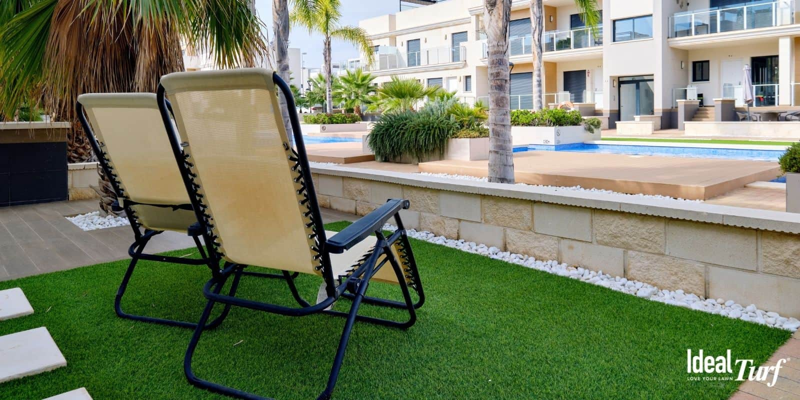 Apartment patio covered with artificial grass