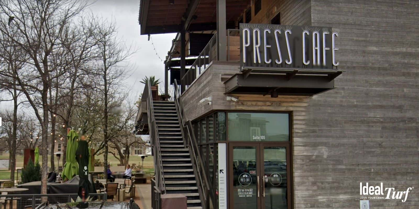 Front entrance and patio area of Press Cafe in Fort Worth, TX