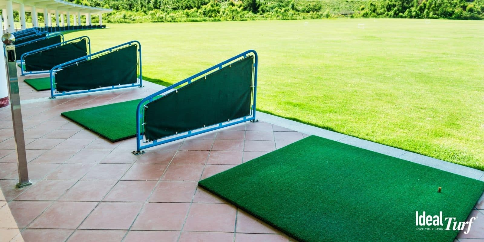 Artificial grass golf tees at driving range