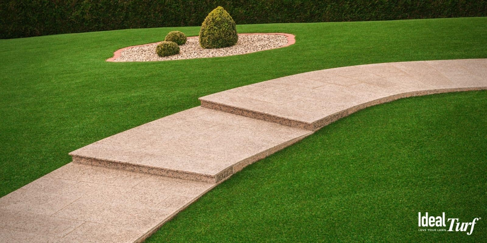 Walkway in residential lawn with artificial grass on either side
