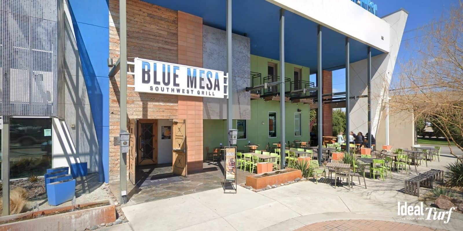 Front entrance and patio area of Blue Mesa Grill in Fort Worth