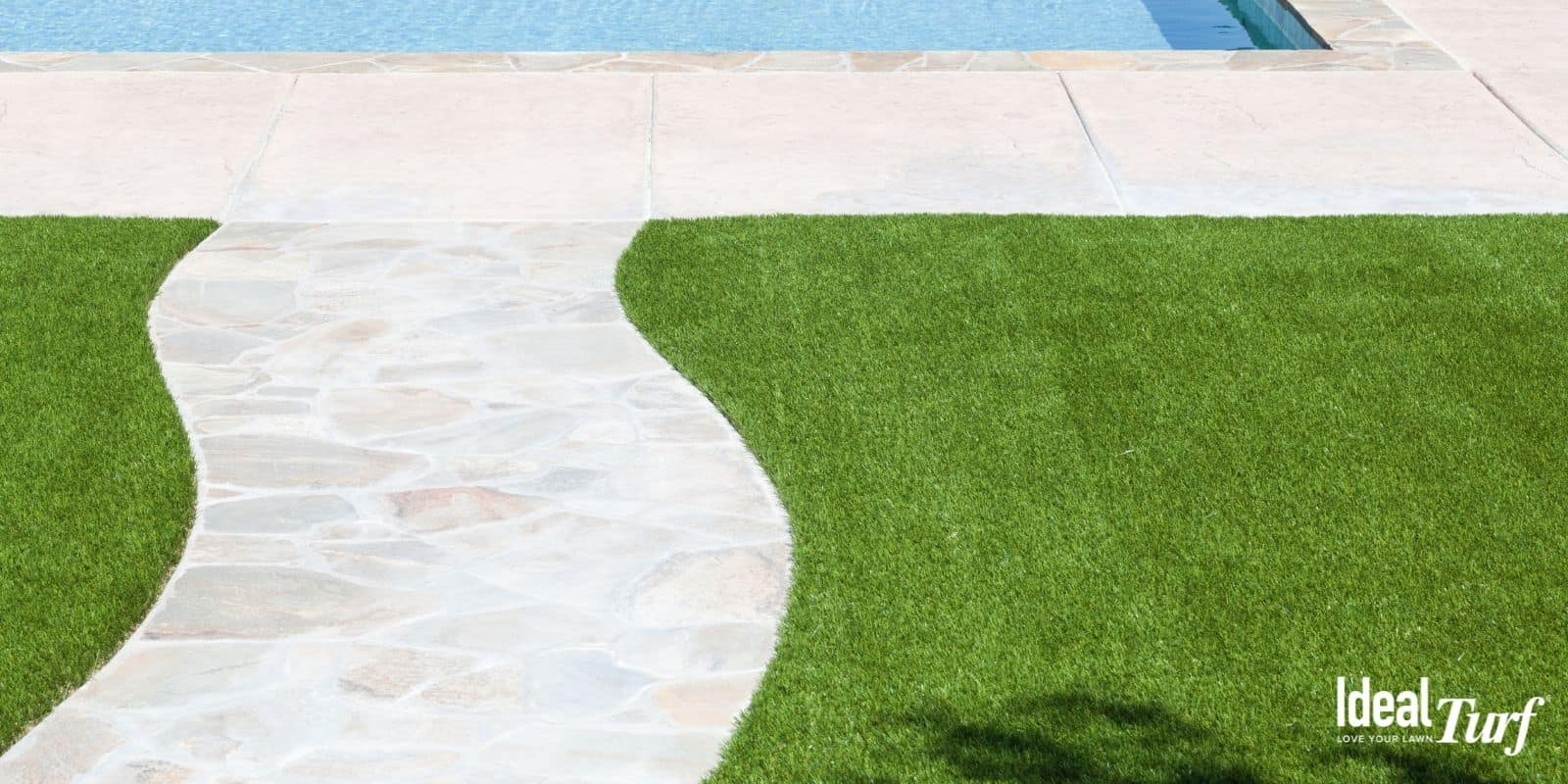 Swimming pool deck with artificial grass