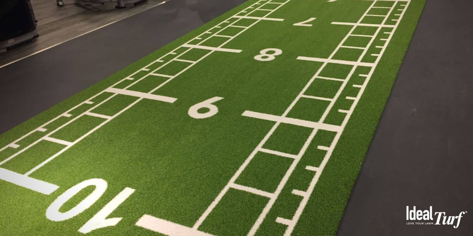 Artificial grass in an athletic facility
