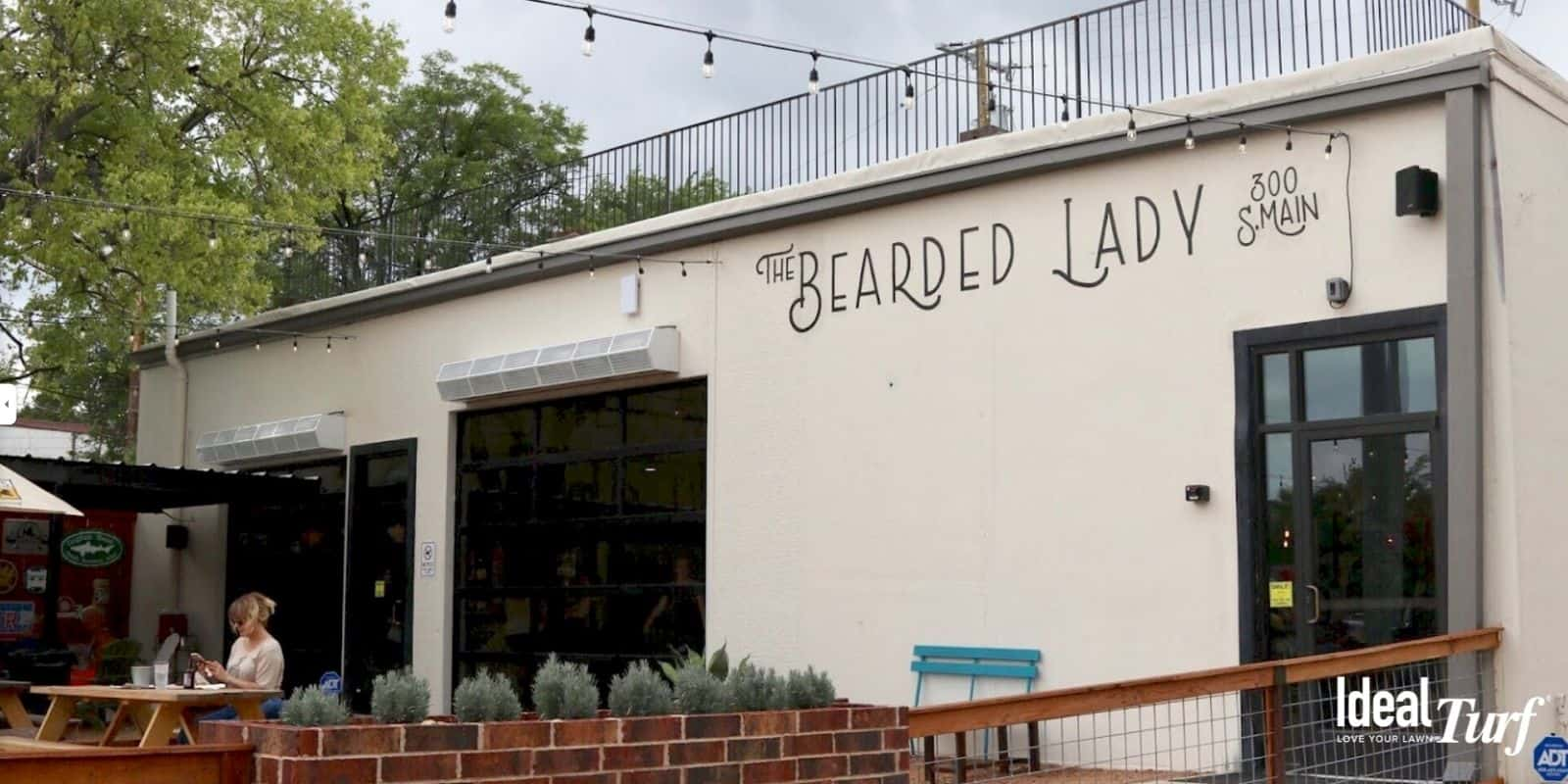 Front entrance & patio area of The Bearded Lady in Fort Worth, TX